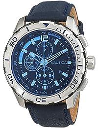 Nautica NAI19518G – Reloj de pulsera para hombre, cronógrafo, mecanismo de cuarzo, correa de cuero
