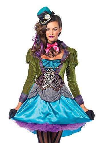 fasching kostueme damen maerchen Leg Avenue 85505 - Deluxe Mad Hatter Kostüm, Größe Medium (EUR 38), Damen Karneval Kostüm Fasching