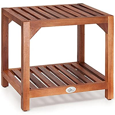 Low Garden Side Table Wooden Coffee Bistro Patio Acacia Wood Outdoor Furniture Tea Table Slatted Top
