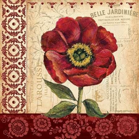 Vintage Poppy von Gorham, GREGORY–Fine Art Print erhältlich auf Leinwand und Papier, canvas, SMALL (12 x 12 Inches )