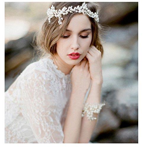 Vintage Haarschmuck, Hochzeit, Kristall elegant Braut Retrostil Haarband Diadem Haarschmuck klar,...
