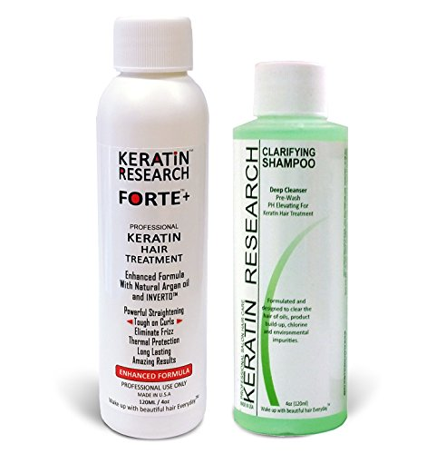 Keratin Forte Keratin Brazilian Keratin Hair Blowout Treatment Extra Strength 120ml with Clarifying Shampoo Enhanced Formula for Curly Hair By Keratin Research