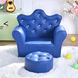 Kinder Chair mit Ottoman Krone Pu Leder Prinzessin Kinder Sofa Mit eingebetteten Crystal Kleines Sofa mit fußstütze, Polstermöbel Sessel Mit ottomane-Blau