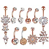 HBselect 9pcs Piercing Ombelico Donna con Zircone Accessori Donna Piercing Ombelico Acciaio Chirurgico set Gioielli Donna