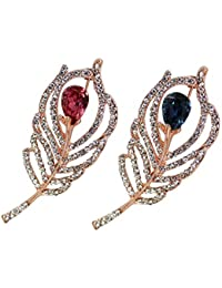 a7fac038b9c TIED RIBBONS Set of 2 Crystal Studded Brooch for Girls and Women on  Anniversary Birthday Festive