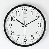FunRun Modernos Elegante Reloj de pared silencioso de cuarzo 25 cm de diámetro para la decoración del hogar,...