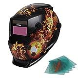 Yorbay® Solar Automatisch verdunkelnd Schweißhelm Schweißmaske mit 5 Stück Ersatzgläser, Schleif-Funktion (Fußball, Flamme)