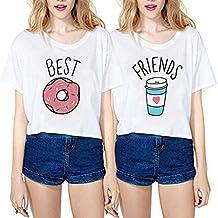 Mejores Amigas Shirts Best Friends Camisetas 100% Algodón Dibujos Animados 2 Piezas Impresión Manga Corta