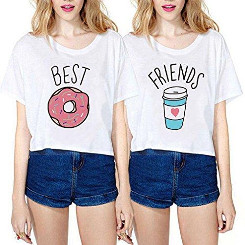 Mejores Amigas Shirts Best Friends Camisetas 100% Algodón Dibujos Animados 2 Piezas Impresión Manga Corta Casual Verano Para Mujer(Blanco+Blanco,Best-S+Friends-S)