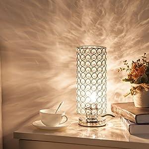 ZEEFO Crystal Table Lamp, Modern Style K9 Crystal Desk Lamp, 28 cm High Elegant Crystal Light, Compact Design Lamps Suitable for Home, Bedroom, Living Room, Dining Room (Sliver) from ZEEFO