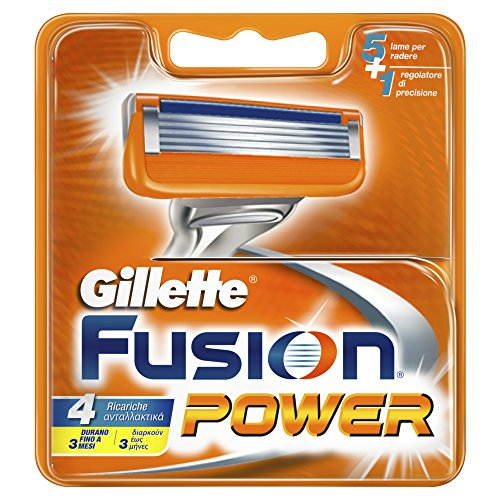 Gillette Fusion Power Lame di Ricarica per Rasoio, da Uomo, 4 Pezzi