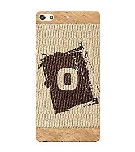 Fiobs alphabet o brownish colour salwood corners arial bold font Designer Back Case Cover for Gionee Elife S7