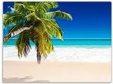 Wallario Stilvolle Glasunterlage/Schneidebrett aus Glas, Südseestrand in der Karibik mit Palme, Größe 30 x 40 cm, Kratzfest, aus Sicherheitsglas