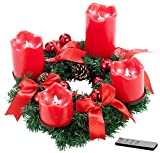 Britesta Adventsgestecke: Adventskranz, rot, 4 rote LED-Kerzen mit bewegter Flamme (Weihnachtskranz)