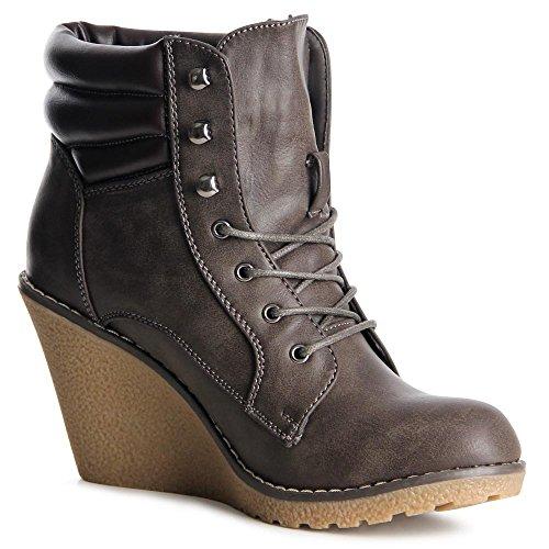 topschuhe24 895 Damen Keil Stiefeletten Boots Grau