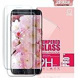 Youer Verre Trempé Galaxy S7 Edge Couverture Complète, [2 Pièces] 3D en Verre Trempé écran Protecteur Vitre, Dureté 9H, Sans Bulles, Ultra Résistant, Couverture Parfaite, Anti Rayures Glass Pour samsung Galaxy S7 Edge - Transparent