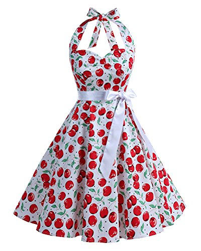 Kostüme Cherry Kleid (Bbonlinedress 1950er Neckholder Vintage Retro Rockabilly Cocktail Party Kleider White Big Cherry)