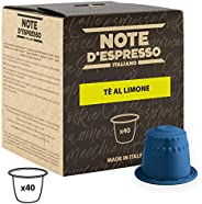 Note d'Espresso Lemon Tea Capsules 8g x 40 Capsules Exclusively Compatible with Nespresso* machines