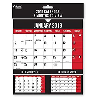 2019 3 Months to View Calendar Wall Planner Calendar Commercial Home Office Student Commercial