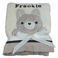 Personalised Deluxe Cream Kitten Baby Blanket. Luxurious wrap. Great Baby Gift.