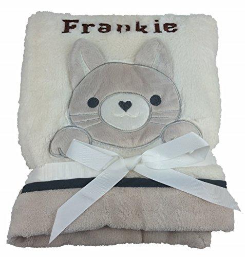 Couverture pour bébé de luxe avec chaton - Couleur crème, personnalisable. Emballage soigné. Cadeau idéal pour bébé