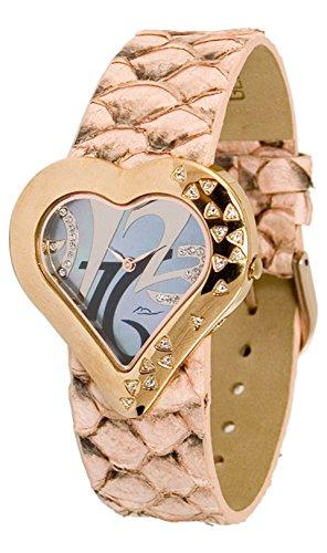 Moog Paris - Heart Damen Uhr mit Schwarz Zifferblatt, Swarovski Elements & Lachs Armband aus Echtem Leder - Hergestellt in Frankreich (Lachs Echter)