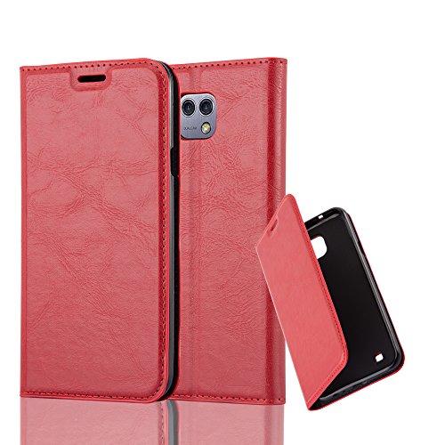 Cadorabo Hülle für LG X CAM - Hülle in Apfel ROT – Handyhülle mit Magnetverschluss, Standfunktion und Kartenfach - Case Cover Schutzhülle Etui Tasche Book Klapp Style