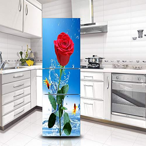Kühlschrank Vinyl Cover (Ruifulex Kühlschrank Aufkleber Selbstklebende Aufkleber, Kühlschrank Tür Aufkleber Professionelle Vinyl Wallpaper Upgrade, Romantische Rose 60x150cm)