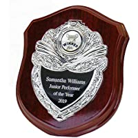 Personalised Rosewood Shield Plaque Award For Any Sport, Any Text Engraved - Enter Your Own Custom Text