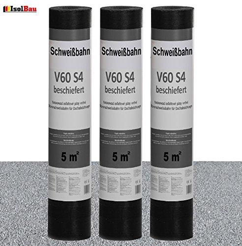 Schweißbahn V60 S4 beschiefert 3 x 5 m² GRAU Bitumenbahn Dachbahn Dachpappe