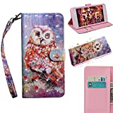 BONROY Nokia 3 Case, Wallet Case Soft PU Leather Notebook Design Case with Kickstand Function Card Holder and ID Slot Slim Flip Protective Cover-(TX-Color Owl)