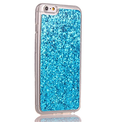 Custodia iphone 6S 4.7, Cover per iphone 6 Silicone, iphone 6S Glitter Cover, MoreChioce Moda Glitter Sparkle Bling bling Brillante Morbido 3d Gel TPU Silicone Gomma Cover Case Custodia per iphone 6 4 C-Blu