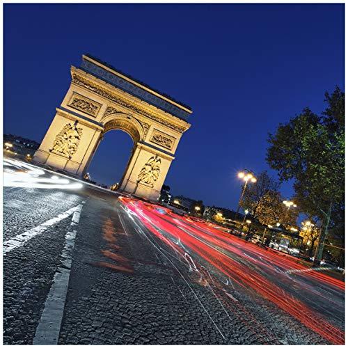 Wallario Glasbild Paris in Frankreich - Arc de Triomphe bei Nacht - 50 x 50 cm in Premium-Qualität: Brillante Farben, freischwebende Optik (Nacht In Paris-dekorationen)