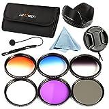 52mm Kit de 6 Filtres (UV/CPL/FLD/Bleu/Orange/Gris ND4) Filtre protection Filtre Polarisant Filtre Gris Neutre Filtres Couleur Progressifs pour Caméra DSLR