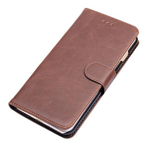 iPhone 7 Plus Hülle Feitenn Lederhülle Schutzhülle Mit Standfunktion Kartenhalte Kleingeld Leather Phone Case Cover Stoßfest Handyhülle Hülle Für Apple iPhone 7 (2016) - Gelb Braun