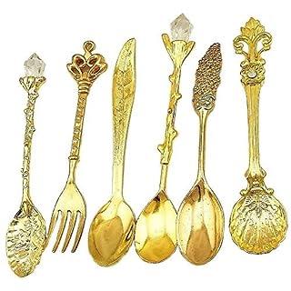 aoxintek Set von 6Stück Geschirr Besteck Küche Esszimmer Bar Nostalgie Vintage Royal Style Metall geschnitzt Kaffee Löffel und Gabel für Sweet Snacks gold