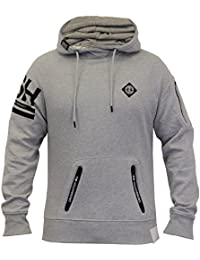 Herren Sweatshirt Crosshatch Top Mit Kapuze Sweat Pullover Fitnessclub Freizeit Fleecefutter Neu