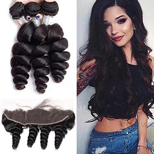 Maxine Loose Wave Human Hair 3 Bundles Unprocessed Virgin 10A Brazilian Hair Bundles with 13x4 Ear to Ear Lace Frontal for Black Women Natural Color (12 14 16 with 10 frontal)