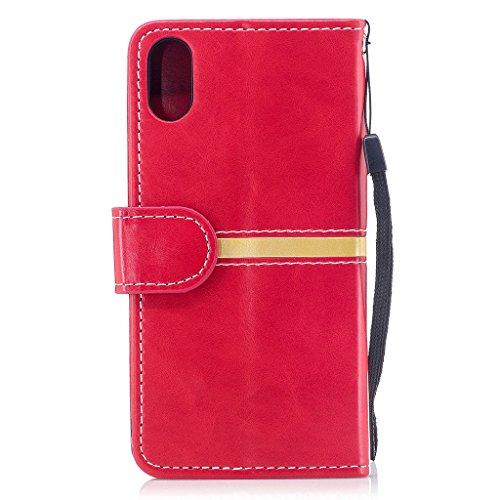 Hülle für Apple iPhone X , IJIA Mode Elegant Rein Rosa Flip Case Leder Cover PU Lederhülle Schutzhülle Ledertasche mit Zusatzfunktionen Card Slot Schale Cover Book Style Design Tasche für Apple iPhone Red
