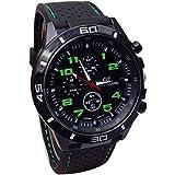 relojes hombre vovotrade Hombres Relojes Militar Deportes Reloj de pulsera de reloj de cuarzo de silicona (verde)