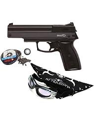Pack Pistola perdigón Gamo AF-10 4,5mm. Carga manual (no necesita botellas de gas Co2). Potencia 3,5 Julios + Gafas antivaho + Pañuelo cabeza decorado + Balines