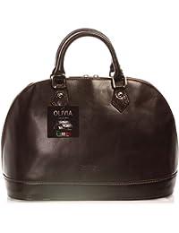 OLIVIA * Sac à main 100% Cuir véritable * Réf. VENISE * Cuir de haute qualité * sac noir, marron, rouge (chocolat 1060)