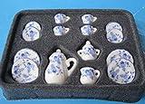 Kaffeeservice Porzellan blaues Blumenmuster 17 Teile Puppenhaus Miniatur 1:12