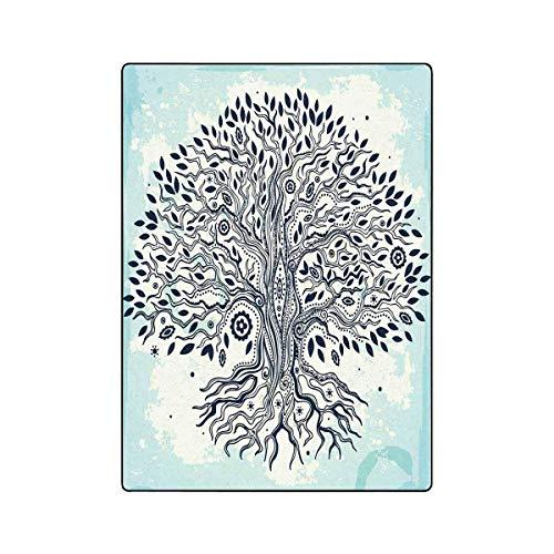 Mesllings Tagesdecke, Vintage-Stil, Baum des Lebens, leicht, gemütlich, superweich und warm, 147,2 x 203,2 cm Vintage-olive Wood
