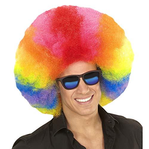 NET TOYS Riesige Clown-Perücke Afro-Style | knallbunt | Extravaganter Unisex-Kopfschmuck Regenbogen-Perücke | EIN Blickfang für Fasching & Straßenkarneval