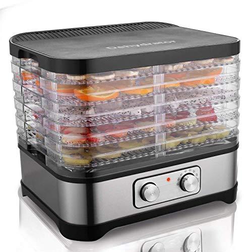 Hopekings Deshidratador de Alimentos 5 Pisos, Deshidratador de Frutas y Verduras 250W, Termostato ajustable 35-70 ° C, Negro