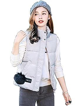KINDOYO Invierno Moda Chaleco para mujeres de Pluma Sin mangas Plumón Ropa Chaqueta Capa