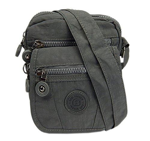 Bag Street Umhängetasche damentasche Crossover Grey Bag Schultertasche Neu Grau (Crossover Grau)