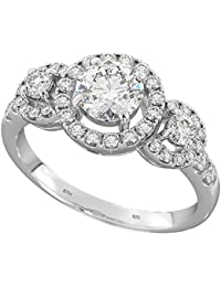 Ladies 925 Sterling Silver DAZZLING ROUND CLUSTER 3 STONE ENGAGEMENT WEDDING RINGS