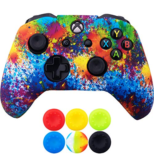 9CDeer 1 x Silicone Trasferimento Stampare Protettivo Copertina Skin + 6 Thumb Grips e Tappi Antipolvere per Controller Xbox One/S/X vernice di colore